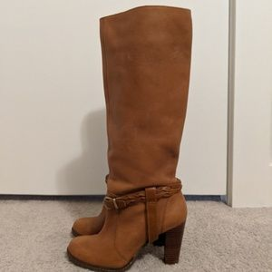 Banana Republic Cognac Leather Knee High Boots